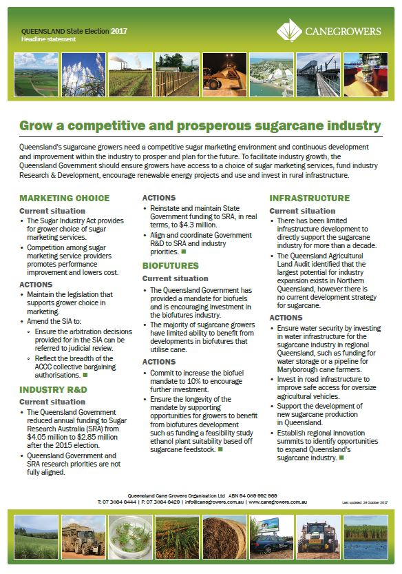 Grow a competitive and prosperous sugarcane industry