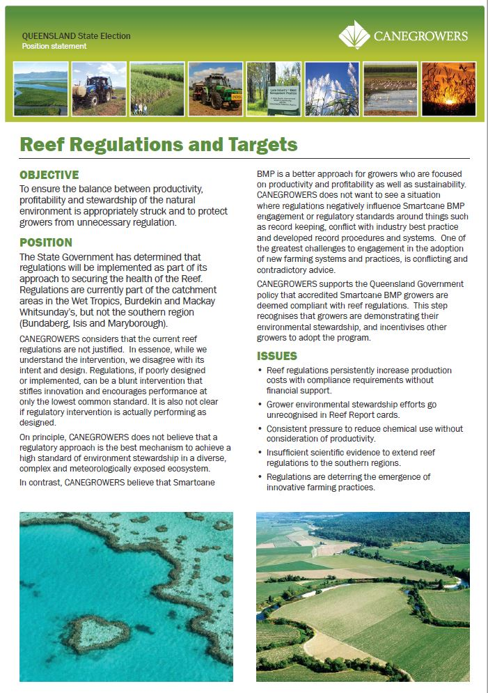 Position statement - Reef regulations